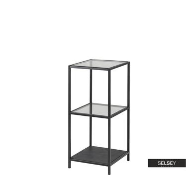 Regal KRAPINA schwarz mit Glasböden 82,5 cm