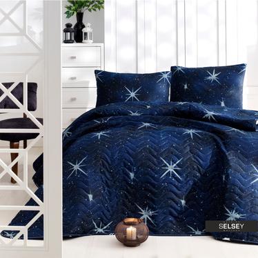 Tagesdecke UNIVERSE 160x220 cm mit Kissenbezug 50x70 cm blau mit Sternmuster