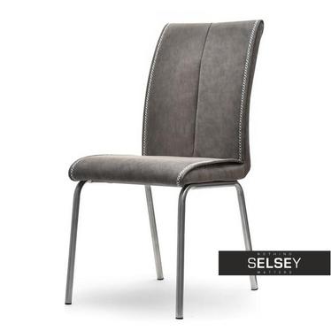 Stuhl BELGIO grau mit Kunstlederbezug