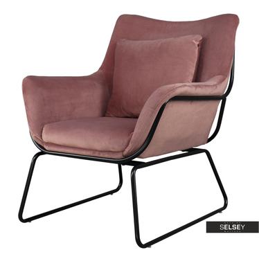 Sessel TALE rosa mit Metallgestell in Schwarz