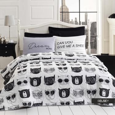 Tagesdecke MONOCHROME CATS 200x220 cm und 2 Kissenbezüge 50x70 cm schwarz/weiß mit Katzen-Gesichtern