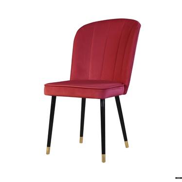 Stuhl GUAVRA rot mit Veloursbezug