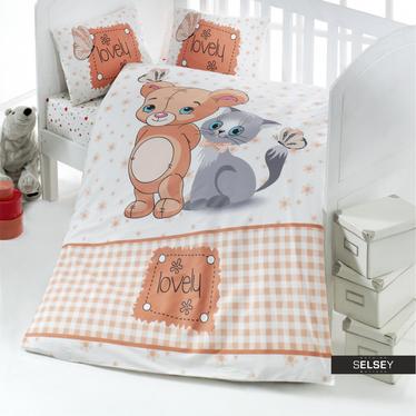 Bettwäsche LOVELY Teddy und Katze 100x150 cm für Kinder