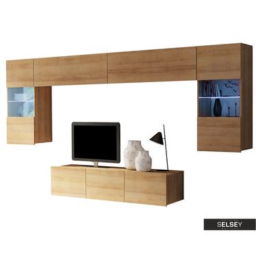 Wohnwand KIRDON hängend mit TV-Board 150 cm und LEDs