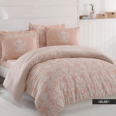 Bettwäsche SHEANA in Rosa/Weiß 200x220 cm 4-teilig mit 2 Kissenbezügen 50x70 cm