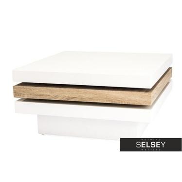 Couchtisch HAZIN 80x80 cm weiß/Eiche mit drehbaren Tischplatten
