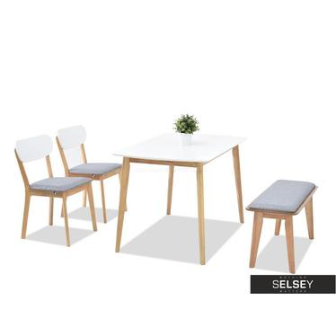 Essgruppe FIGARO weiß/Eiche mit Holzstühlen und Polsterbank