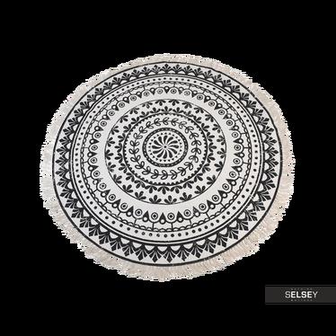 Fransenteppich 150 cm rund dunkles Muster Nr. 2