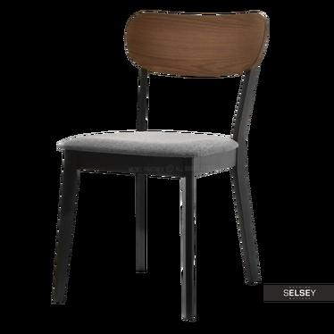 Stuhl DUTSE in Nussbaum/Schwarz gepolstert