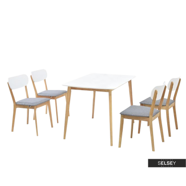 Essgruppe RASTO Tisch und 4 Stühle Eiche/weiß/grau