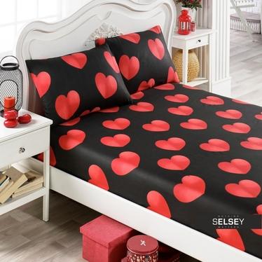 Bettlaken HERZEN 160x200 cm und 2 Kissenbezüge 50x70 cm schwarz/rot
