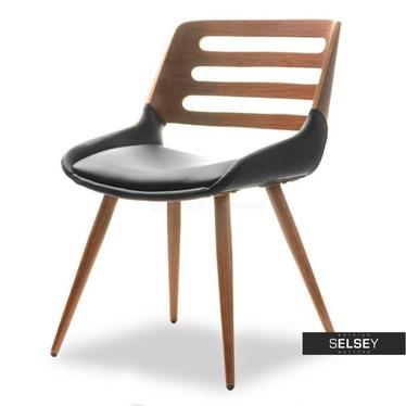 Stuhl KANSAS Nussbaum/schwarz mit Metallbeinen