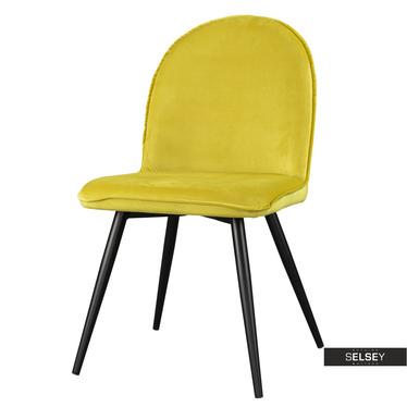 Stuhl TONY schwarze Stahlbeine und Veloursbezug in Gelb