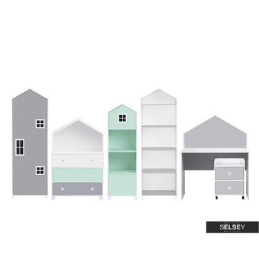 Kinderzimmer-Set VESPE minzgrün / grau mit Schreibtisch