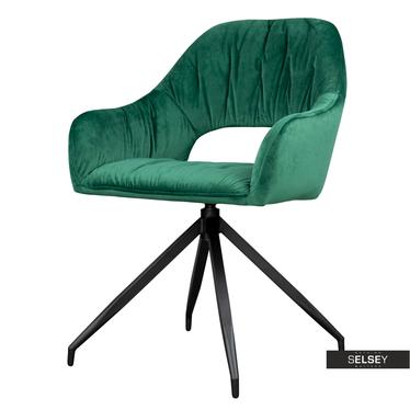Stuhl NABALL grün mit Veloursbezug und Drehfunktion