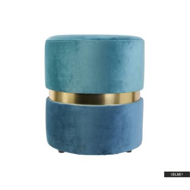 Pouf DELISO DOUBLE blau/Gold/hellblau