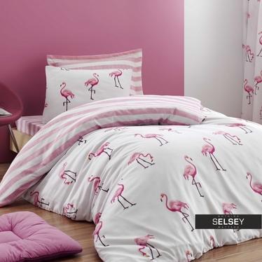 Bettwäsche-Set FLAMINGO STRIPES 160x220 cm mit Kissenbezug 50x70 cm und Bettlaken