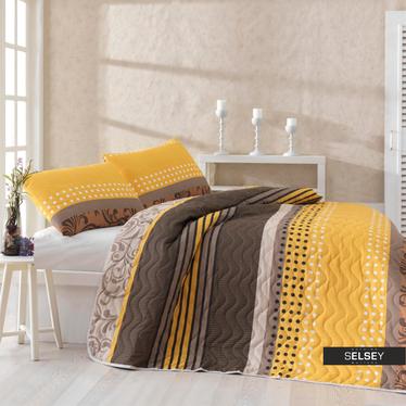 Tagesdecke SANDY 160x220 cm und Kissenbezug 50x70 cm braun/gelb