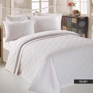 Tagesdecke BRICKS 200x235 cm weiß mit Karo-Muster