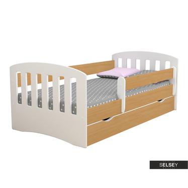 Kinderbett PAMMA in Weiß/Holzoptik mit Rausfallschutz