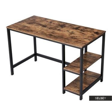 Schreibtisch RAMIZU in rustikaler Holzoptik mit Regalfächer