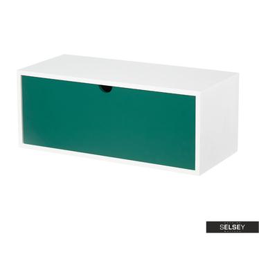 Wandregal EGBERT Weiß/Grün mit Schublade