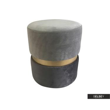 Pouf DELISO DOUBLE grau/Gold/hellgrau