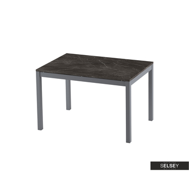 Esstisch ALBERTO ausziehbar in schwarzer Marmor-Optik 120(180)x80 cm