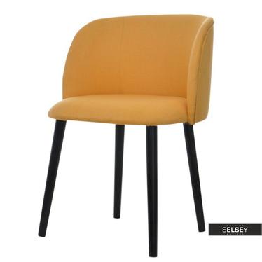 Stuhl LIVENNA gelb mit schwarzen Holzbeinen
