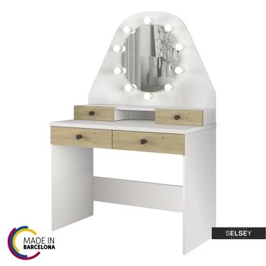 Schminktisch DACETINO weiß/Sonoma Eiche mit rundem Spiegel und Beleuchtung - made in Barcelona
