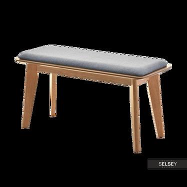 PILAR Sitzbank grau/Eiche gepolstert im Scandi Style