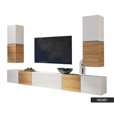 Wohnwand BISKO hängend mit 2 TV-Lowboards
