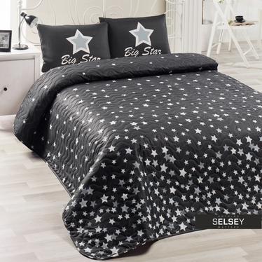 Tagesdecke BIG STARS 160x220 cm mit Kissenbezug 50x70 cm schwarz/weiß mit Sternen