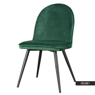 Stuhl TONY Stahlbeine und Veloursbezug in Dunkelgrün