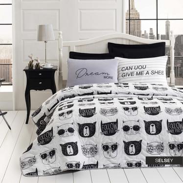 Tagesdecke MONOCHROME CATS 160x200 cm mit Kissenbezug 50x70 cm schwarz/weiß mit Katzen-Gesichtern
