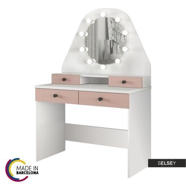 Schminktisch DACETINO weiß/rosa mit rundem Spiegel und Beleuchtung - made in Barcelona