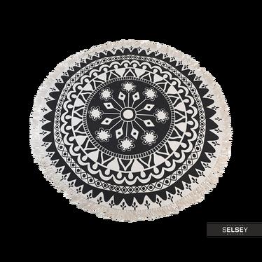 Fransenteppich 150 cm rund dunkles Muster Nr. 3