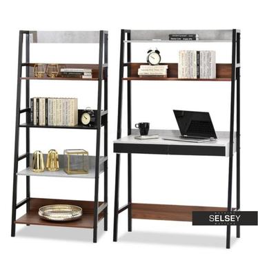 Schreibtisch-Set BERG mit Stehregal Nussbaum/Beton