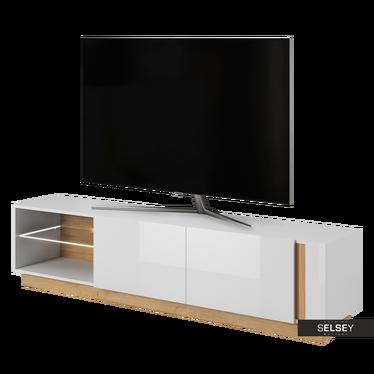 TV-Lowboard SKOKY Weiß/Eiche 187 cm