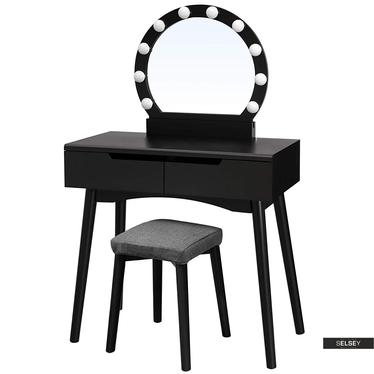 Schminktisch DERRA schwarz mit rundem Spiegel Hocker und LED-Beleuchtung