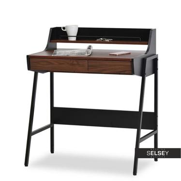 Schreibtisch BORR schwarz/Nussbaum mit Ablage und 2 Schubladen
