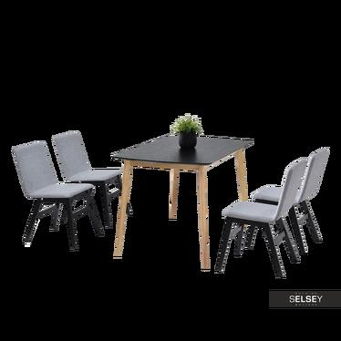 Essgruppe MODERO schwarz/Eiche Esstisch mit vier Polsterstühlen