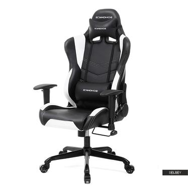 Gaming Stuhl MANJARAN schwarz mit weißen Nähten