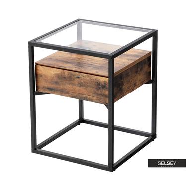 Beisteltisch RAMIZU 43x43 cm mit Glasplatte