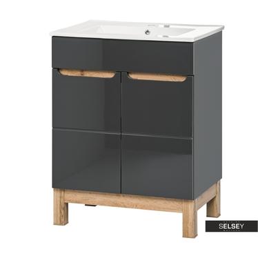 Waschbeckenunterschrank JAKKARTA schwarzgrau in Glanz-Optik 60 cm