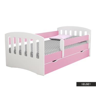 Kinderbett PAMMA in Weiß/Pink mit Rausfallschutz