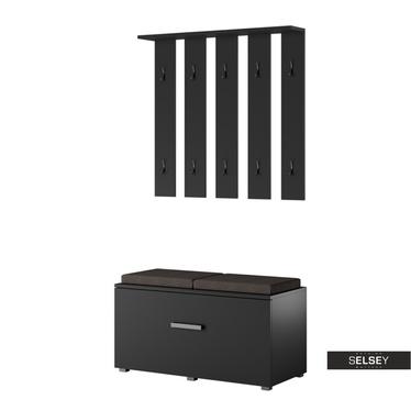 Garderoben-Set GASRO schwarz mit Sitzbank
