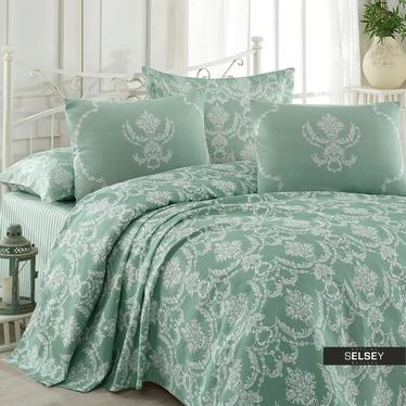 Tagesdecke SHEANA Grün/Weiß 200x235 cm mit 2 Kissenbezügen 50x70 cm