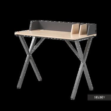 Schreibtisch RAPTOR Eiche/grau mit Trennbrettern