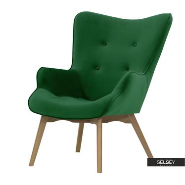 Sessel BLOMSTOR Grün mit Holzbeinen